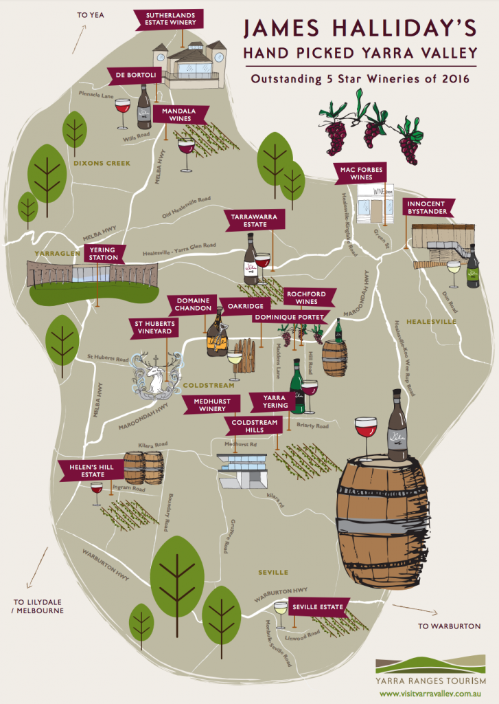 James Halliday Yarra Valley 2016 Choices Map